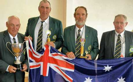 VICTORY: Captain Malcolm Taylor, Stefan Cross, Jim O'Connell and Geoff Gibson with the Wayleggo Cup after victory against New Zealand.