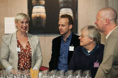 Yvonne Lorkin, Nick Lane and Australian wine writers Ken Gargett and Tim White at Pinot at Cloudy Bay.