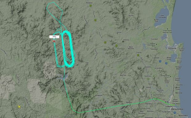 Screenshot from http://www.flightradar24.com/PPQ showing a plane searching for the missing aircraft with six onboard