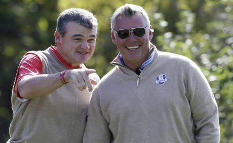 Europe's Paul Lawrie and Darren Clarke during the Ryder Cup.