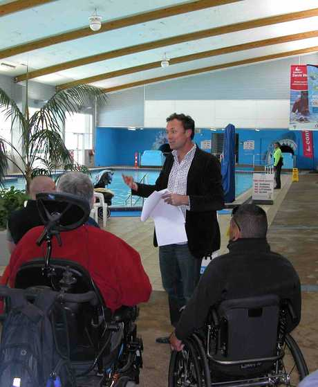 SEEKING INPUT: Architect Glenn Brebner of Boon Goldsmith Bhaskar Brebner discussing proposed changes to the AC Baths' indoor leisure pool with pool users last week.