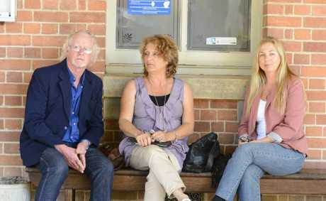 Relatives of the late Ian Klum outside the inquest at Grafton courthouse this morning. From left is Mr Klum's brother-in-law Jeffrey Baker, Mr Klum's sister Gail Baker (Mr Baker's wife) and Mr Klum's ex-wife and mother of his daughters Peta Hines. Photo Adam Hourigan / The Daily Examiner