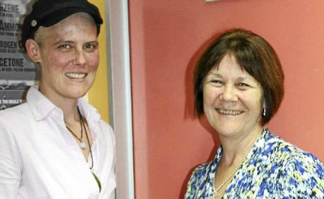 SPECIAL CARE: Cancer patient Meaghan Vosz (left) with specialist breast care nurse Monica Hogan.