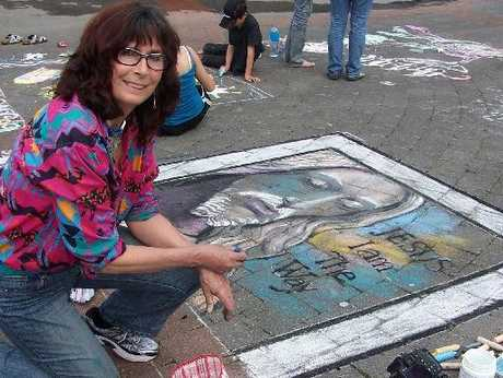 City artist Lynne Sinclair Taylor chalked up a win in the Fringe Festival Chalk Fest.