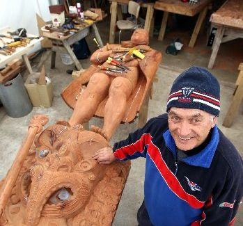 ARTISTRY: Taka Walker is the only remaining member of a group of carvers who created a set of carvings for a marae in Hawaii during the 1960s. PHOTO/DUNCAN BROWN HBT123913-01