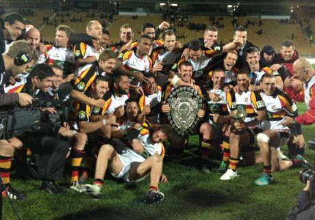 The Waikato ITM Cup team that took the Ranfurly Shield off Taranaki last night celebrate their win.