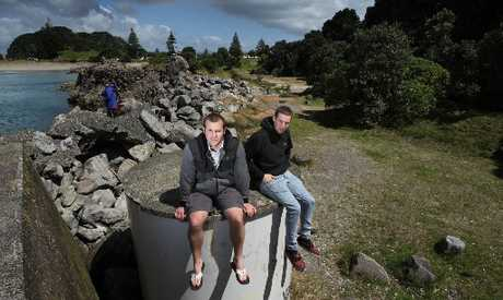 Mount Maunganui residents Josh Fitzgerald and brother Sam are unhappy with the messy overgrown state of the old Mount Maunganui Leisure Park site on Leisure Island (Moturiki). Photo / John Borren