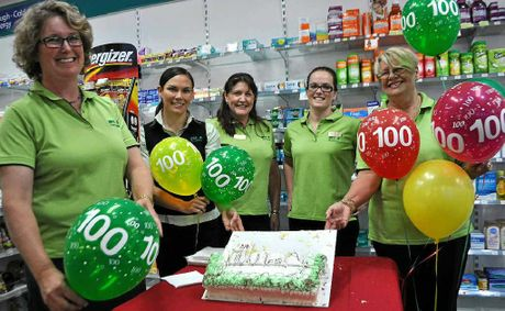 Manager Laura Brazier, pharmacist Jacqueline Henricks, merchandise manager Joanne Chandler, pharmacist Molly McGuire and pharmacist assistant Sandy Kelly celebrate.