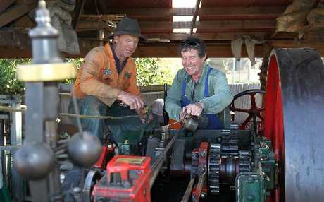 Wayne Clark and St Columba's Church minister Roger Gillies, with Wayne's traction engine which will be an attraction at the annual fair at Havelock North Domain.