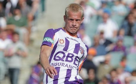 Seb Van Den Brink of the Glory kicks the ball during the round one A-League match between the Perth Glory and the Brisbane Roar.