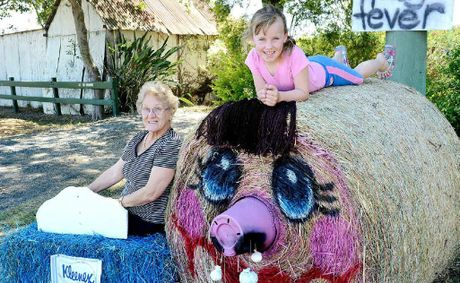 Lorraine Goetsch with her granddaughter, Ashlee Goetsch, from Goetsch Rd, Kalbar getting into the swing of the Kalbar Country Day. Photos: Sarah Harvey