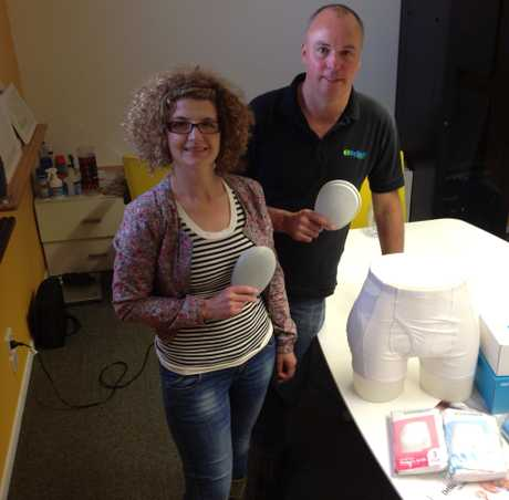Paramedic and business man Sean O'Connor invented the HipFit Hip protector. With Kat Sutherland of Locus Research.