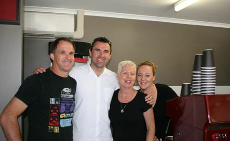 FAMOUS FACE: Ex-Wallaby Rugby player Joe Roff drops in to Evans Head Bakery for a coffee with (from left): Mick Aarts, Helen Aarts and Sandra Aarts. Photo contributed.