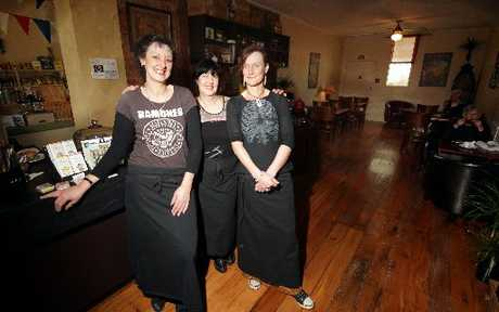 HAPPY TRADERS: Ambrosia Delicatessen's Angie Cawley (left), Nevanah Turner and Kelly Blinkhorne.PHOTO/STUART MUNRO