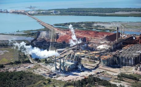An aerial View of Queensland Alumina Limited, Gladstone. 