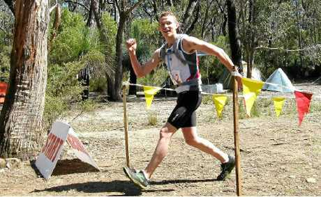 Ben Duffus crosses the line at last year's Washpool/Gibraltar Range trail run. Photo: Contributed