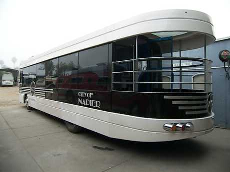 One of the Art Deco buses before it was loaded on a ship in California to be shipped to New Zealand.