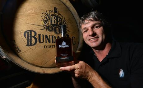 ON THE ROCKS: Bundaberg Distiling company distiling brand manager Haydn Jobson with the new release Dark Oak. Photo: Scottie Simmonds / NewsMail
