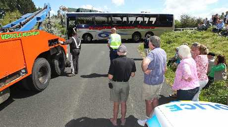 A Kapiti Coach Tours bus got stuck trying to descend Te Mata Peak Road yesterday with 38 people on board.