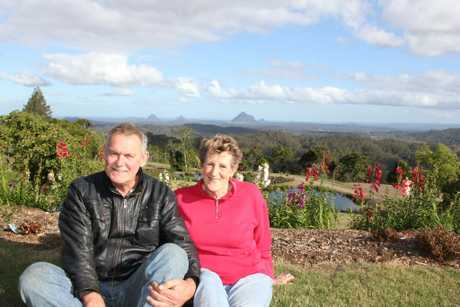 Maleny Botanic Gardens owner Frank Shipps is happy to be helping Friends of Ebenezer volunteer Lenore Burton Photo Emily Haynes / Buderim Chronicle