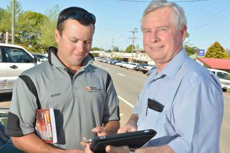 President of Apex Maleny Barry Meager with app designer Mark Irwin. Photo: John McCutcheon / Sunshine Coast Daily.