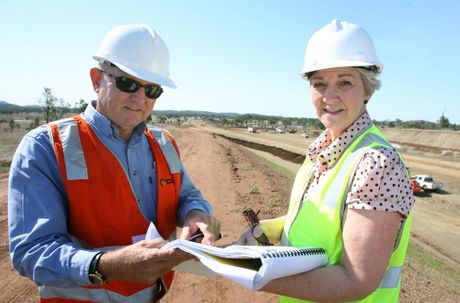 Gracemere Industrial Access project, project manager Charlie Lloyd-Jones with Rockhampton Regional Council Mayor Margaret Strelow. Photo: Chris Ison / The Morning Bulletin