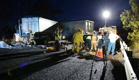 AFTERMATH: The scene of the crash on the Brisbane Valley Highway south of Fernvale.