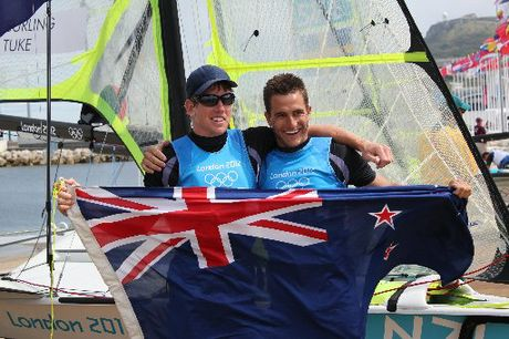 Peter Burling and Kerikeri's Blair Tuke - seen here celebrating their Olympic silver medal - are in the running for Yachting New Zealand's top award. Photo / Supplied