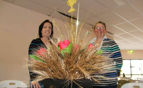 Kate Christensen and Rebecca Leeson have been busy decorating for the LJ Hooker Warwick Rodeo Queen Quest dinner.