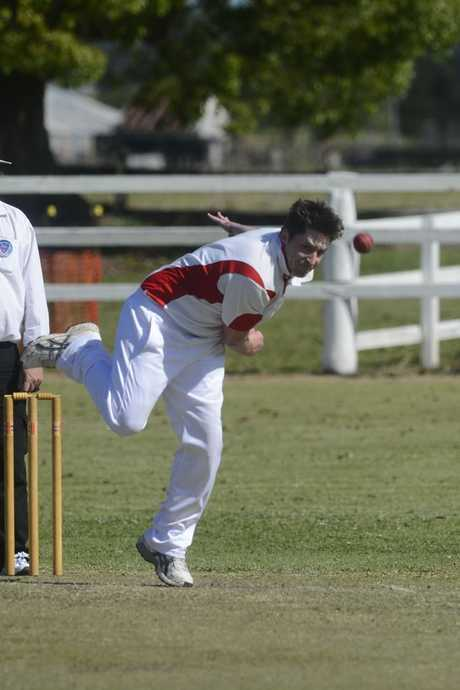 Souths Mat Peterson opens the bowling. He earlier scored 76 from number 8 to give Souths a good first innings lead. Premier League cricket between Souths Services and Brothers at Ulmarra ShowgroundPhoto Adam Hourigan / The Daily Examiner