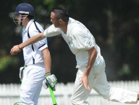 BOWLING ALONG: Sam Adams sends one down for Ballina Bears against Marist Brothers on the first day of their match at Fripp Oval, Ballina.