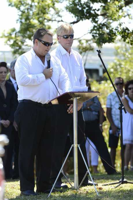 Two of Ian&#39;s brothers David and Chris Durrington give his eulogy at the memorial service for Ian Durrington held at the Maclean Showground Photo Adam Hourigan / The Daily Examiner