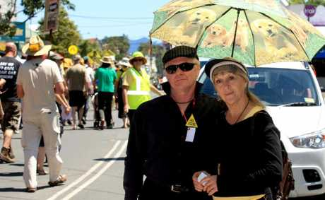 PROTEST RALLY: Diane Strohfeldt (right) in the thick of the march in the main street of Murwillumbah.