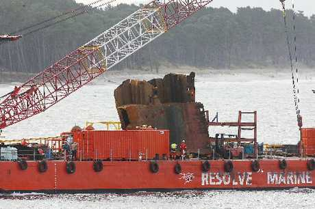 The Resolve crane barge returned to port on Friday with a 22-tonne hunk of steel - the largest single piece yet removed from the Rena wreck.