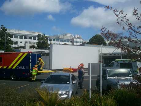 Firefighters are setting up a decontamination tent at Tauranga Hospital.
