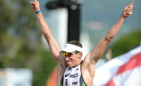 Peter Jacobs wins the Hawaiian Ironman Triathlon in Kailua-Kona Hawaii, October 13 2012.