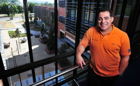 Mal Meninga took part in a safe work breakfast at the UQ Ipswich campus on Monday. 