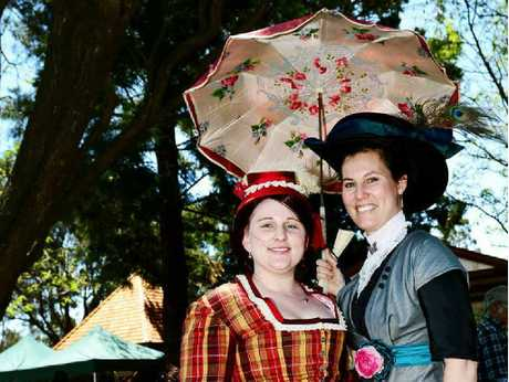 YESTERDAY'S STYLES: Melissa Stevens and Donna Lane of the Australian Costumers Guild.