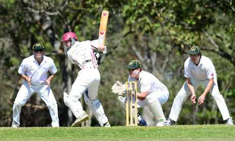 HUGE STRIDES: Central Districts batsman Luke Barrett dances down the pitch on his way to 103 not out against defending premiers Northsiders on Saturday.