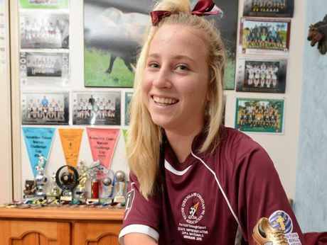 14 year old Lareena Meiklejohn has made the QLD soccer team.