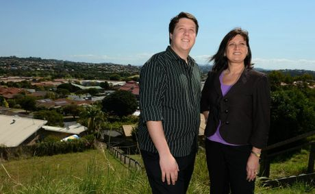 Reece Byrnes and Justine Elliot look over Banora Point. Photo: John Gass / Daily News