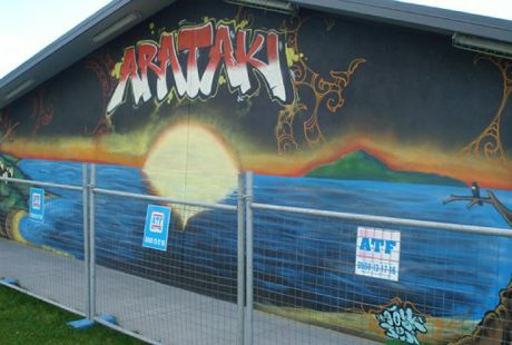 Street art like this striking example on the Arataki Community Centre is helping to reduce attacks by taggers who respect the work of the artists.