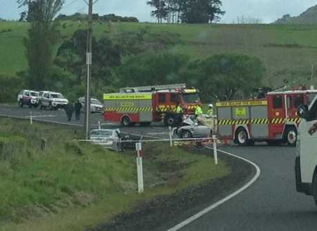 Emergency services at the scene of a fatal crash in Northland.
