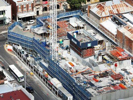 MOVING ON UP: Construction continues at a cracking pace on the nine-storey Tower I at Icon Ipswich in the Ipswich CBD.