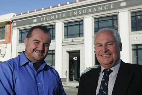 Blair Fitzsimons (left) and John Gifford, directors of Pioneer Insurance in happier days.