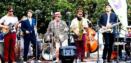 FULL SWING: The Yoots, with saxophonist Lucien Johnson (far right), will be hitting Kuranui College this Saturday for the Greytown Arts Festival.