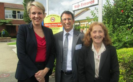 Janelle Saffin with Federal Health Minister Tanya Plibersek and North Coast Medicare Local CEO Vahid Saberi at Grafton Base Hospital during the minister's visit to the Clarence Valley.