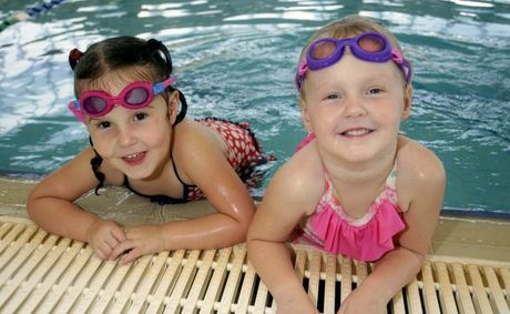 Young sisters Kaity and Lily Booker are learning to swim to prevent accidents from happening. Photo Vicki Wood / Caboolture News