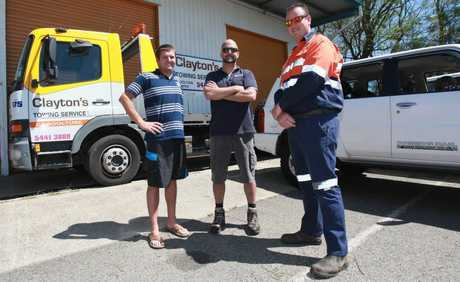 Lee Robertson and Murray Duncan of Patrol 4 x4.com and Justin King of Clayton's Towing Service will be giving up their time, along with hundred's of others to help clean up the Glasshouse Mountains National Park. Photo Darryn Smith / Caboolture News