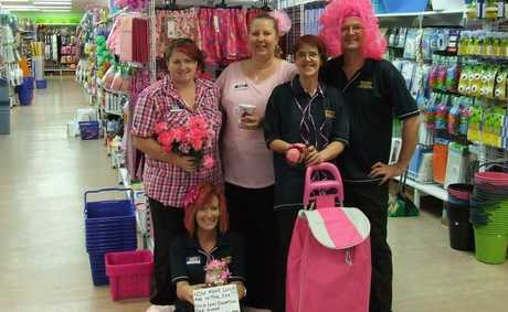 Wayne's World stores across the region dressed in pink for a day last week in support of breast cancer research. The Gatton store staff got into the spirit of things with some even donning a pink wig or colouring hair for the occasion.